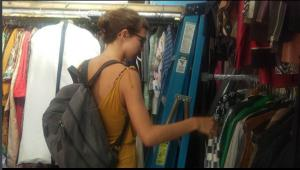 Poppy taking in Vintage Clothing in Williamsburg