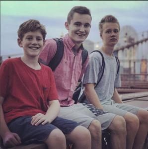 Robbie, Dylan and Jack on the Brooklyn Bridge