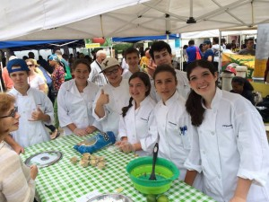 Happy students doing demos at Prospect Park's Grand Army Plaza as part of our Saturday experience to the GreenMarket and the station we set up there.